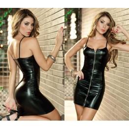 2016 Hot Sale Women Sleeveless Black Leather Dresses Zip Straight Casual Vestido Sexy Latex Dress