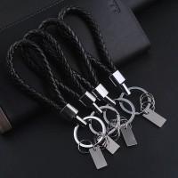 1 PC Black Leather Keychain Holder Keyring Silver Key Car Chain Rings Women Men Jewelry 2016