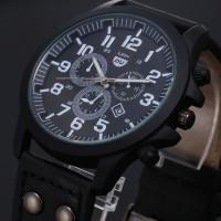 2016 New Business Quartz watch Men sport Military Watches Men Corium Leather Strap army wristwatch clock hours Complete Calendar