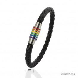 Vnox Black Genuine Leather Bracelet Bangle LGBT Rainbow Dublin Pride Party Jewelry