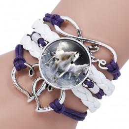 Trendy Black Rope White Horse Photo Glass Cabochon Leather Charm Bracelet For Women Handmade Heart Infinity Love Bracelets Gifts