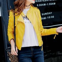 2017 New Fashion Women Motorcycle PU Leather Jackets Female Autumn Short Epaulet Zippers Coat Hot Black White Yellow Outwear