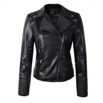 2018 New Arrial Women Autumn Winter Faux Leather Jackets Lady Fashion Rivet Motorcycle Coat Biker Black Silver Gold PInk Outwear1148915964