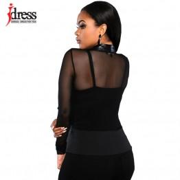 IDress Blazer Jackets 2016 Mulher Sexy Blazer Veste Femme Blazer Button Mesh Leather Partchwork Long-Sleeve Slim Women Blazers